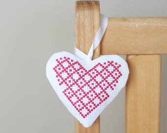 Cross Stitch Full Heart Lavender Bag