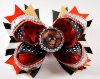 """Ferdinand The Bull Stacked Bow - 5.5"""" / Disney / Red / Black / Brown / Bling / Boutique Bow / New Disney Character"""