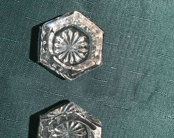 Set of Two Vintage Salt Hexagon Salt Cellars