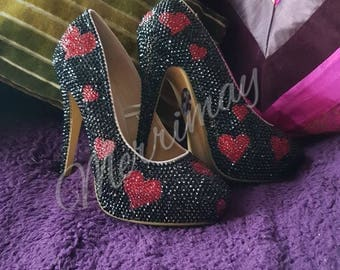 Handmade Fully crystallized heart heels
