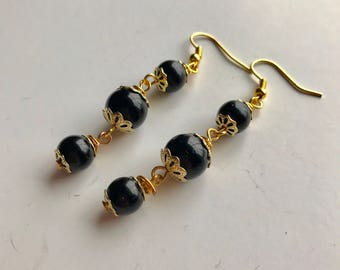 Black and Gold Beaded Dangle Earrings, Black Beaded Earrings, Black Dangle Earrings, Black Earrings, Gold Black Earrings, Black bead earring