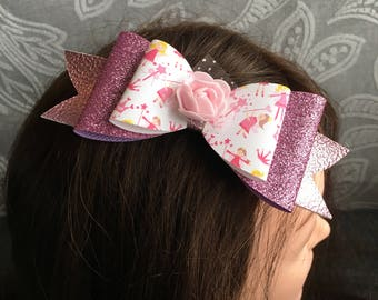 Handmade - Pink Sparkle Glitter Princess Bow - Pink Glitter Bow - Luxury Party Bow