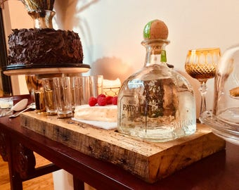Boyfriend or husband  Gift That Men really want-Tequila Mini Bar made from Reclaimed Chestnut- Mini Bar For 6-Great Girlfriend Gift