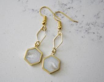 Hexagon Marble Style Earring
