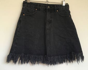 Ripped Black Denim Mini Skirt