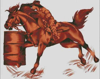 Cowgirl barrel racing quarter horse western rodeo counted cross stitch pattern
