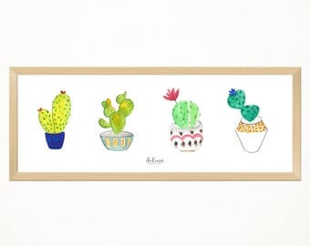 Mini Cactus Print, 45 x 15 cm, made in watercolour to decorate a special handmade corner. Decoration, room, lounge