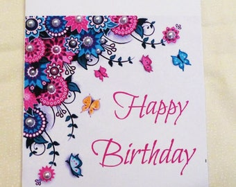 Handmade Greeting Card, Birthday Greeting Card,  Flowers and Butterflies Birthday Card, Made in the USA, #10