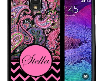 Personalize Rubber Case For Samsung Note 3, Note 4, Note 5, or Note 8- Black Pink Chevron Paisley