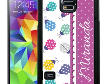 Personalize Rubber Case For Samsung Note 3, Note 4, Note 5, or Note 8- Purple Lady Bugs
