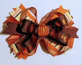 Thanksgiving Hair Bow with Pumpkin Embellishment