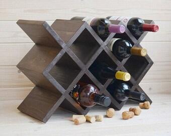 Wood wine rack, rustic wine rack, wooden wine shelf, wine bottle rack, table wine stand, wine holder, wine gift for him, wine organizer