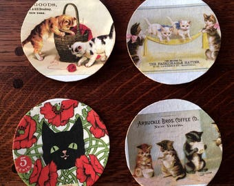 Coaster set|coasters|cats|drink coasters|kittens|home decor|hostess gift|new home gift|kitchen decor|shower gift
