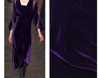 Designer Silk Rayon Velvet Fabric - Purple Night- Sold By The Yard