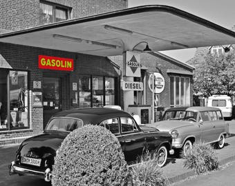 Vintage gas station photo,, Vintage Photo,  old cars photo