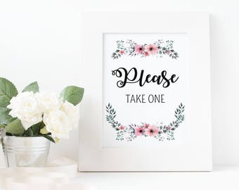 Wedding Please take one Sign Printable, Please Take One, Wedding Sign, Wedding welcome sign, Wedding Sign, Wedding Decor, reception sign  1A