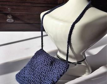 Petite Mini Crochet Blue Shoulder Bag/Purse