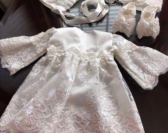 Nanny girl christening dress, baptism dress, flower girl dress,  dedication dress, white dress set,bonnet hat, newborn set