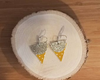 Unique Stud Earrings in silver and yellow fabrics
