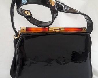 Vintage ELKA Brand Patent Leather Handbag with Adjustable Strap
