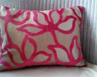 Pair of Pink and Gold Velvet Flower Cushions