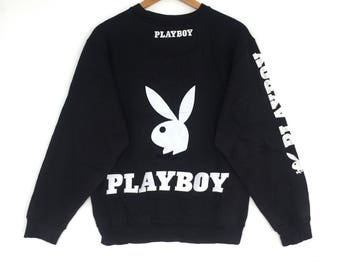 Playboy bunny Sweatshirt Black colour Big Logo Big Bunny Embroidery Sweat Medium Size Jumper Pullover Jacket Sweater Shirt Vintage 90's