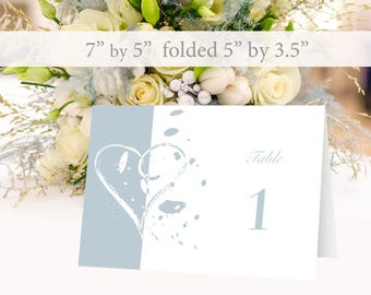 Wedding Place Cards, Wedding Table Numbers. Printable wedding table numbers 1 to 30. Blue