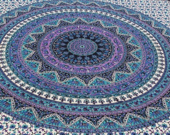 Boho Queen Size Mandala Tapestry - Purple Elephant