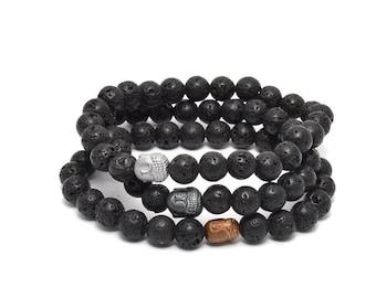 3 Pack Lava Rock and Buddha Bracelets