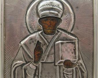 """19th century Russian icon  """"St.Nicholas"""", Silver 84"""