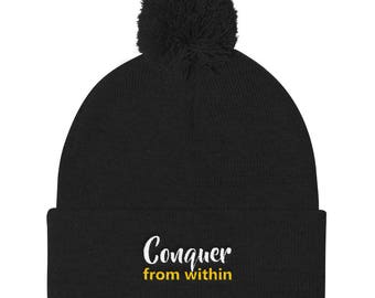 Conquer from within Pom Pom Knit Cap