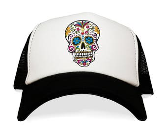 Sugar Skull Hat. Calavera Trucker Cap. Dia de los Meurtos Gift. Day of the Dead. Skeleton Skull. Multi-Colored Skelton. Baseball Hats.
