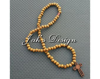 Natural Wooden Beaded Necklace with Wooden Cross