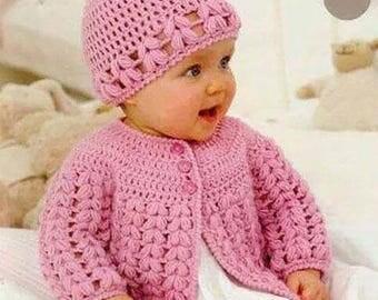 Set vest + hat for baby soft yarn crochet handmade