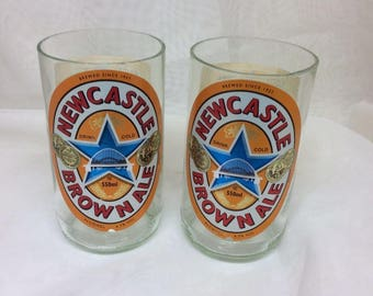 Newcastle Brown Ale Handmade Recycled Beer Bottle Drinking Glasses