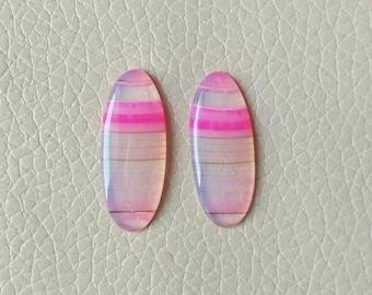 Natural Botswana Agate Beautiful Pink Matching Pair Gemstone, 18 Carat Designer Cabochon Gemstone, Beautiful Jewelry Pair Earring Gemstones.