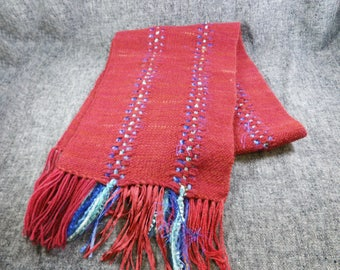 Maroon Wool and Silk Ribbon Handwoven Scarf