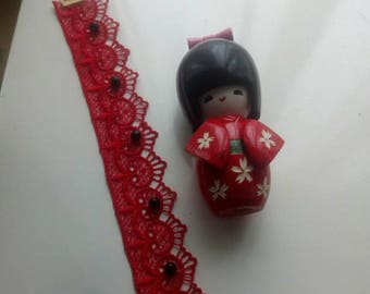 Red choker with black beads
