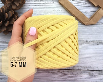 T-shirt yarn cotton yarn zpagetti yarn chunky yarn crochet yarn tshirt yarn fabric spaghetti yarn bulky yellow yarn crochet baskets yarn