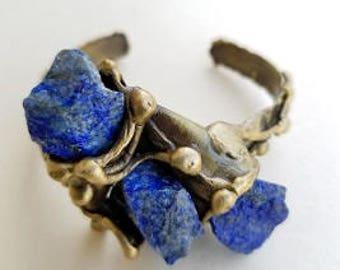 Brass Cuff Bracelet with Lapis