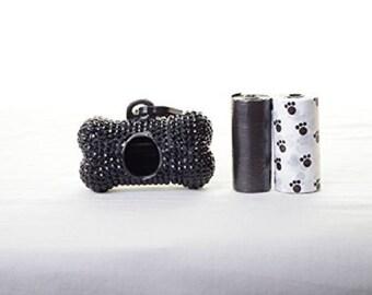 Black Crystal Rhinestone Bone shaped Waste Bag Dispenser