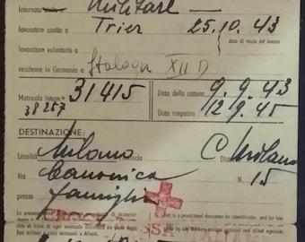 Italian Red Cross return card 1945