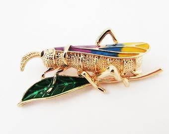 Small Bug Brooch Pin, Grasshopper Brooch, Small Insect Brooch Pin, Insect Jewellery Brooch, Insect Pin, Bug Brooch, Grasshopper Brooch Pin
