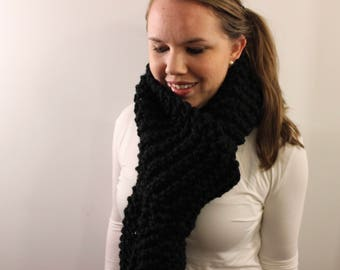 Long Fringe Scarf {Knitted Scarf, Scarf with Fringe, Wool Scarf, Black Scarf}
