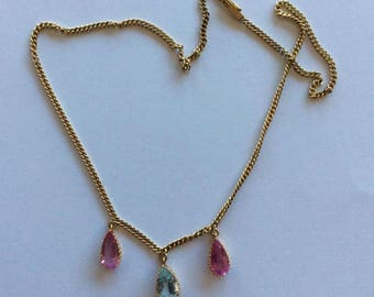 Aquamarine and Tourmaline three stone pendant on fine link gold chain with box clasp