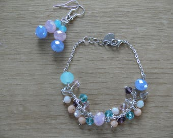 Faceted Bead Bracelet and Earring Set