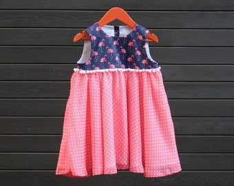 Flamingo  girls dress US size 3T, polka dot chiffon skirt, white pom pom waist, watercolor flamingo design, birthday party dress for toddler