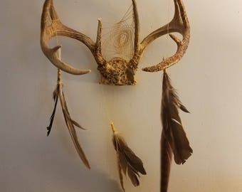 Dreamcatcher Wall Decor - Antler Decor -Decor with feathers - Gifts for Him - Native Made - Rustic Decor