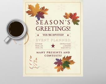 Christmas flyer to print at home, non-religious, Season's Greetings flyer.
