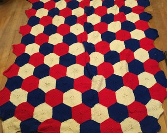 Red, White, and Blue, Hexagon Knit Blanket